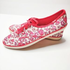 Keds Champion Red Floral Ribbon Lace Sneakers Sz 9